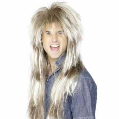 Lange blonde rocker pruik
