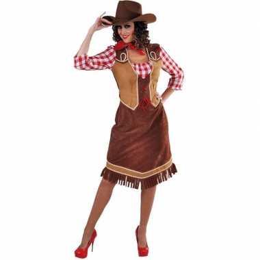 Lange cowgirl jurk met geruite blouse voor dames