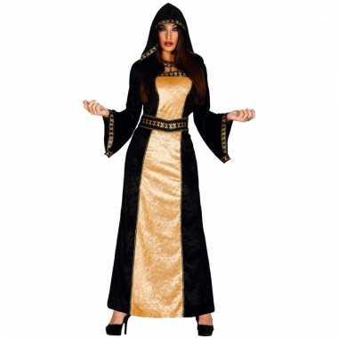 Lange dames halloween verkleedjurk zwart/goud
