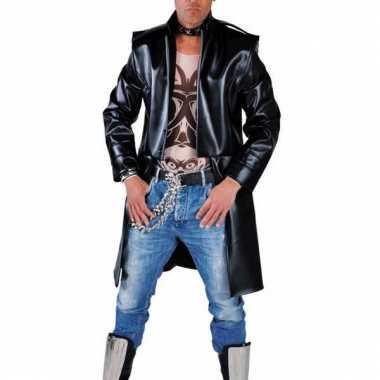 Lange zwarte punk jas