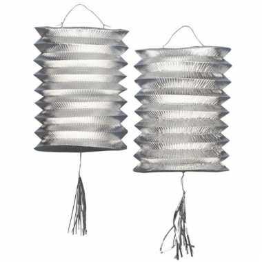 Lantaarn lampion zilver 2 stuks