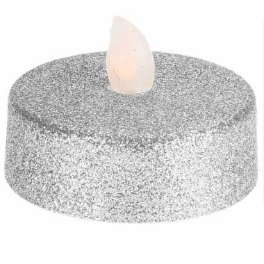 Led zilveren kerst kaarsjes 2 stuks xl-formaat