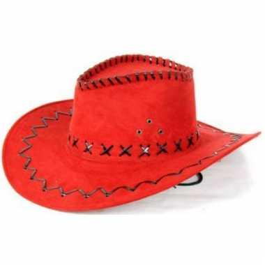Lederlook cowboyhoeden rood voor volwassenen