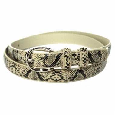 Lederlook slangenhuid zwart beige riem 105 cm
