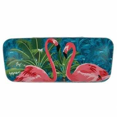 Leesbrillen etui met 2x flamingo print