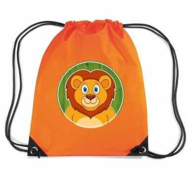 Leeuwen rugtas / gymtas oranje voor kinderen