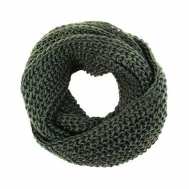 Leger groene gebreide ronde sjaal voor volwassenen