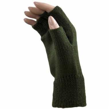 Leger groene handschoenen vingerloos voor volwassenen
