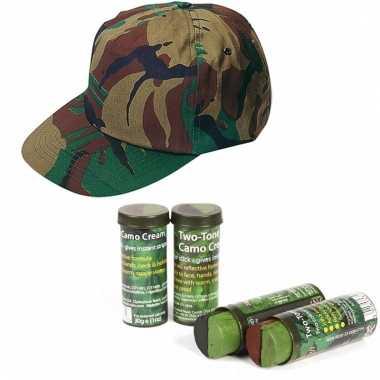 Leger verkleedsetje camouflage pet en schmink