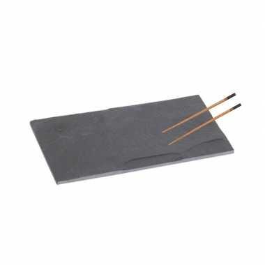 Leisteen sushi snijplank 18 cm met 2x stokjes zwart