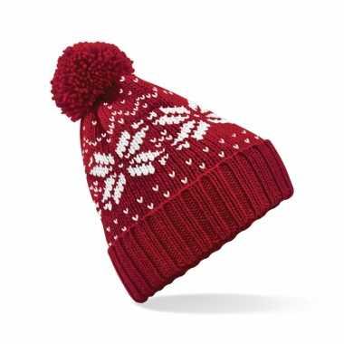 Lekker warme rode muts snowstar