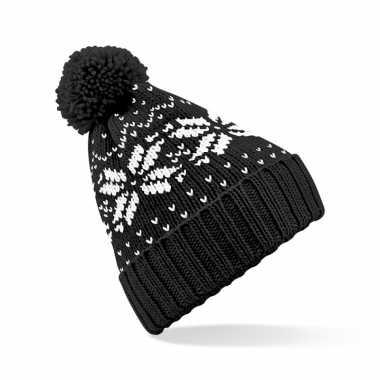 Lekker warme zwarte muts snowstar