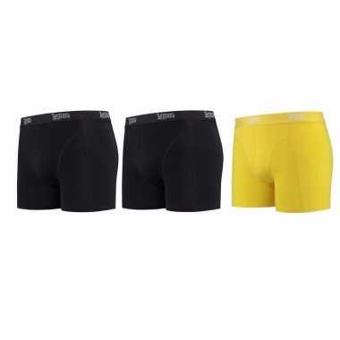 Lemon and soda mannen boxers 2x zwart 1x geel l