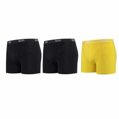 Lemon and soda mannen boxers 2x zwart 1x geel m
