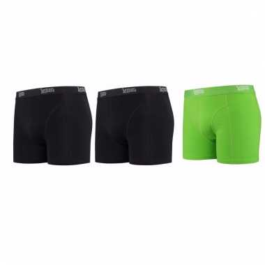Lemon and soda mannen boxers 2x zwart 1x groen l