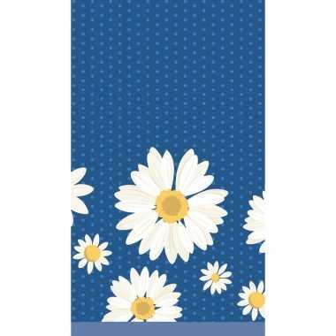 Lente/voorjaar bloemenprint tafelkleed/tafellaken witte margrietjes 1