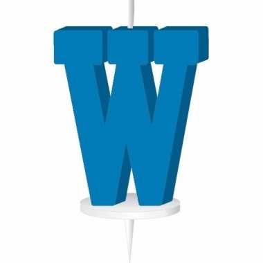 Letter kaarsen blauw w