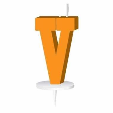 Letter kaarsen oranje v