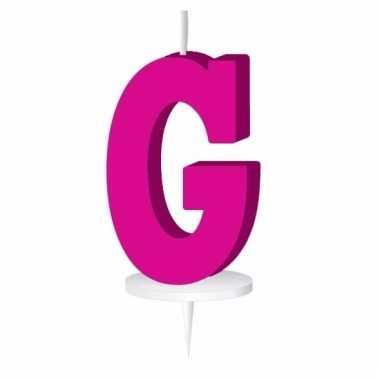 Letter kaarsen roze g