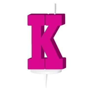 Letter kaarsen roze k