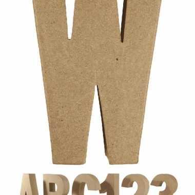 Letter w van papier mache voor decoratie