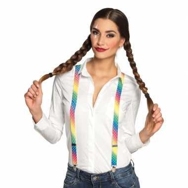 Lgbt/gay pride parade bretels regenboog met stippen voor dames/heren/