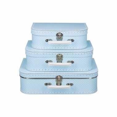 Licht blauw koffertje met witte stipjes 25 cm