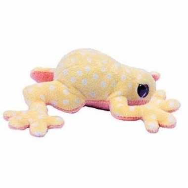 Licht gele kikker met witte stippen knuffeldier 15 cm