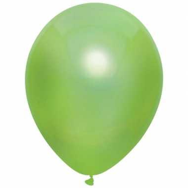Licht groene metallic ballonnen 30 cm 10 stuks
