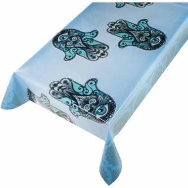 Lichtblauw tuin tafellaken voor buiten handje van fatima/hamsa print