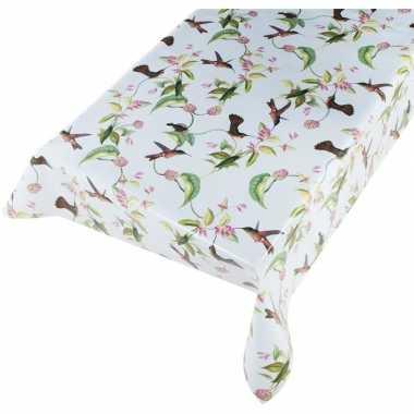 Lichtblauw tuin tafellaken voor buiten vogeltjes print 140 x 240 cm p