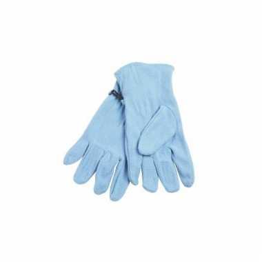 Lichtblauwe fleece handschoenen voor dames en heren