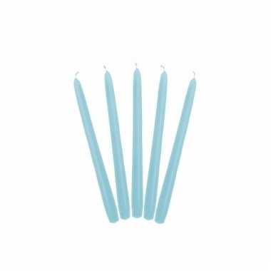 Lichtblauwe kaarsen mat 24 cm 10 stuks