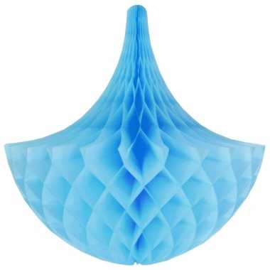 Lichtblauwe kroonluchter versiering 35 cm