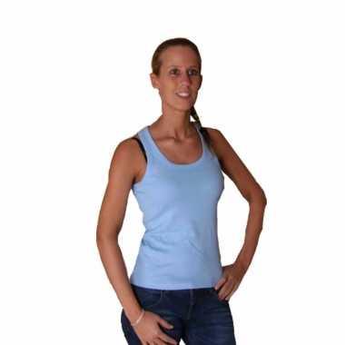 Lichtblauwe mouwlose dames t-shirts