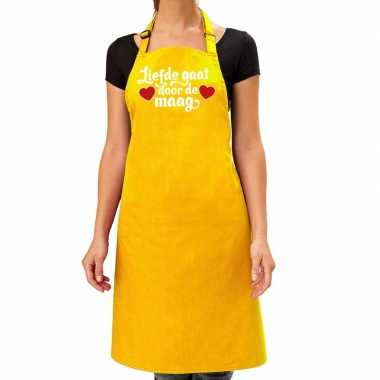 Liefde gaat door de maag keukenschort geel dames / moederdag