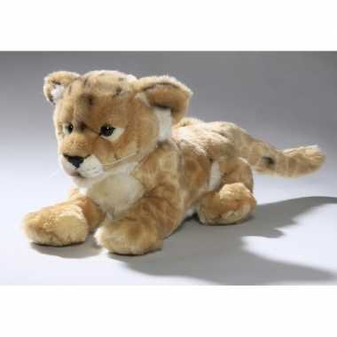 Liggend leeuwen welpje knuffeldier 32 cm