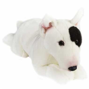 Liggende hond knuffel zwart/witte bull terrier 36 cm