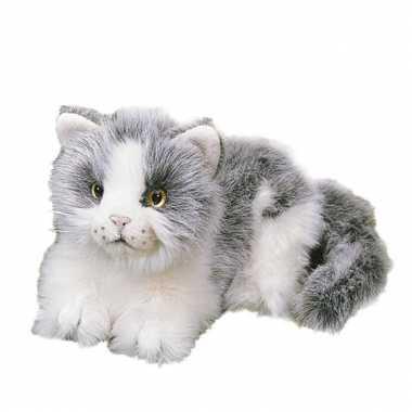 Liggende katten wit grijs 20 cm