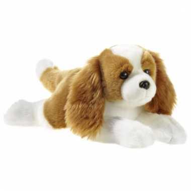 Liggende pluche honden knuffel 32 cm