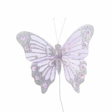 Lila paars vlindertje met glitters 8 cm