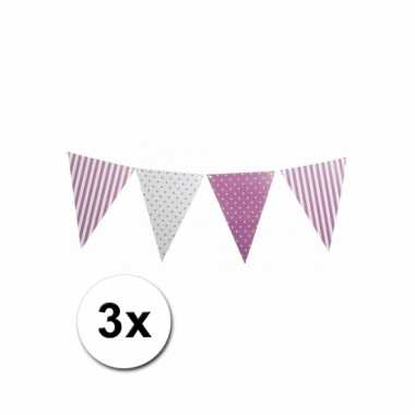 Lila paarse vlaggetjeslijnen 3x