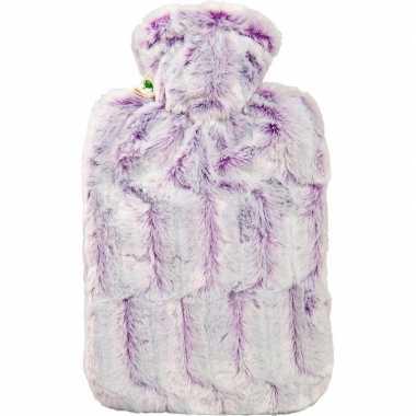 Lila paarse waterkruik 1,8 liter met zachte pluche hoes