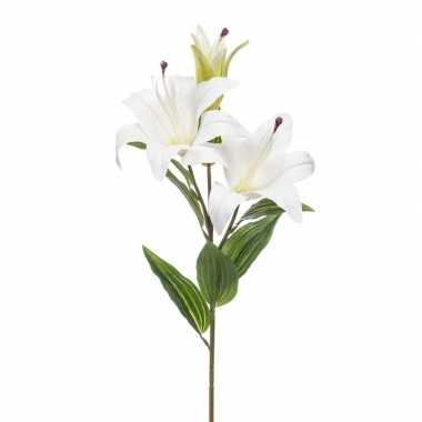 Lilium candidum witte lelie kunstbloem wit 78 cm