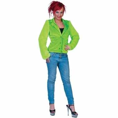 Lime groen harig colbertje voor vrouwen