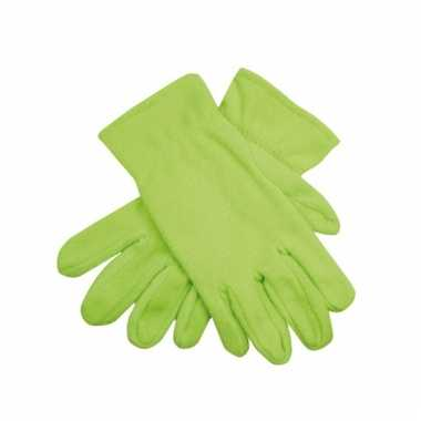Lime groene fleece handschoenen voor mannen en dames