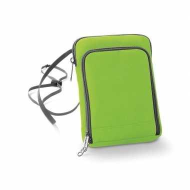 Limegroene nektasjes paspoorthouder/portemonnee 19 x 14 cm