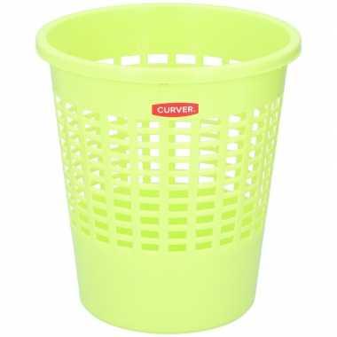 Limegroene papierbak/mand 20 liter