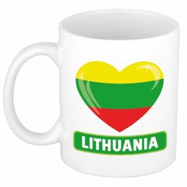Litouwese vlag hart mok / beker 300 ml
