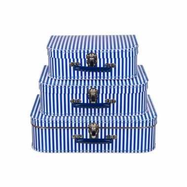 Logeerkoffer blauw met strepen voor jongens 30 cm